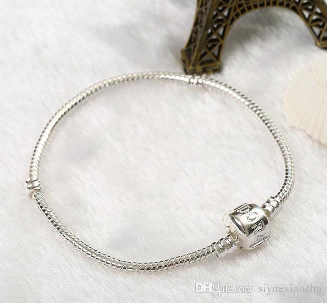 Heiß! 16-23 cm 925 Silber Überzogene Armband Schlangenkette mit Fassverschluss Fit Europäischen Perlen P Armbänder DIY