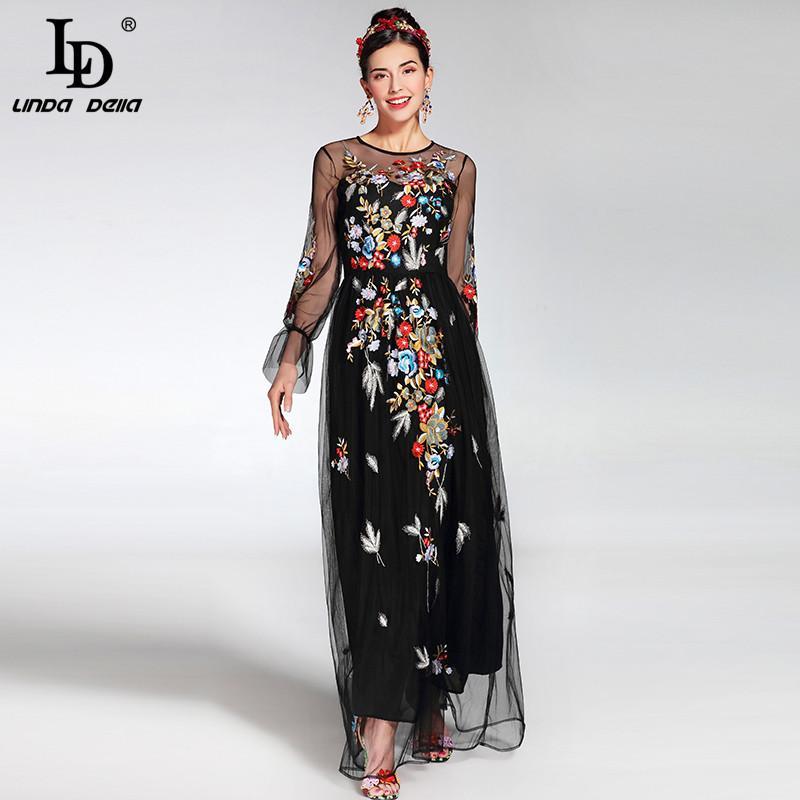 Acquista 2017 Newest Fashion Runway Maxi Dress Elegante Donna A Maniche  Lunghe In Tulle Ricamato A Fiori Ricamo Floreale Nero Abito Lungo Vintage A   80.11 ... 8cb656ef462