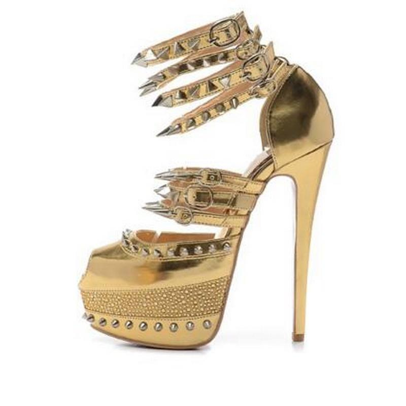 6d342fd7a7b2 Size 35-41 Women  s 16cm High Heels Gold Genuine Leather With Spikes  Rhinestone Red Bottom Sandals Ladies New Fashion Ankle Wrap Party Shoes