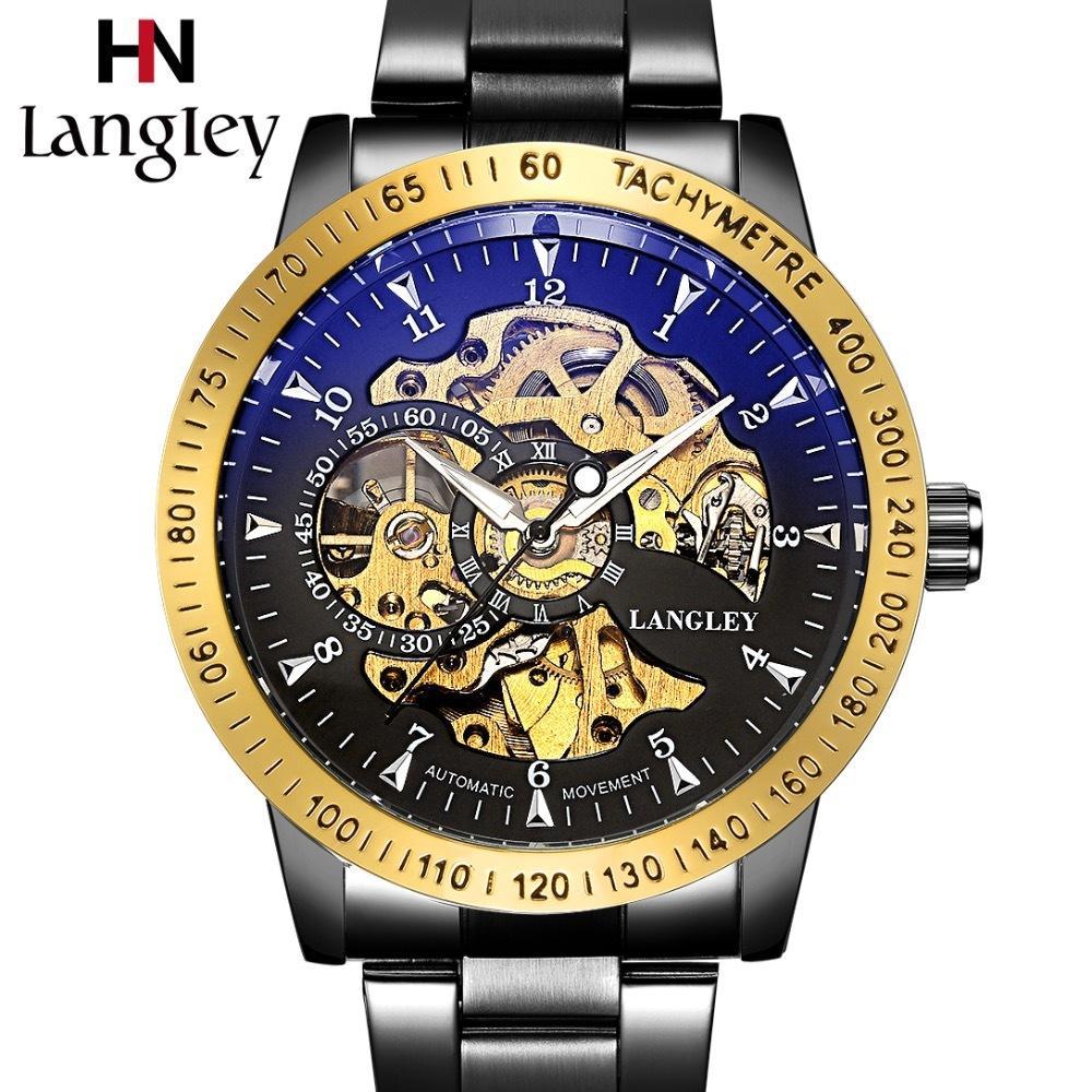 a15842589e8 Compre LANGLEY Relojes Automáticos Hombres Marca De Lujo Relojes Mecánicos  De Acero Inoxidable Reloj De Hombre Reloj De Negocios Clásico Esqueleto De  Moda ...