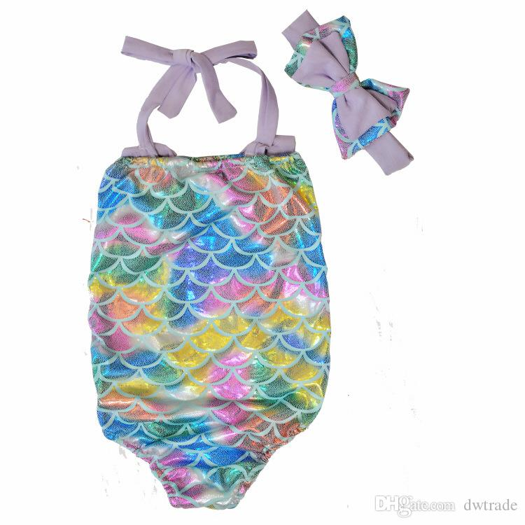 Çocuk Mermaid Mayo Yay Bandı + Yay Mayo 2 adet / takım Karikatür Mermaid Bikini Çocuklar Tek parça Mayo 4 Tasarımlar