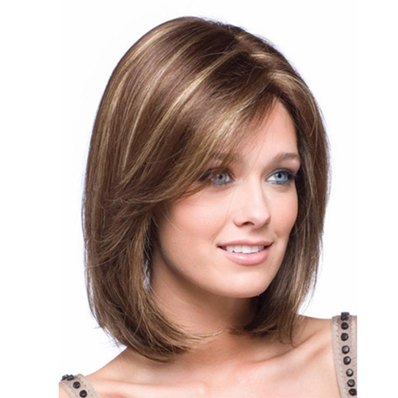 Women S Shoulder Length Straight Synthetic Wig Blonde Highlights