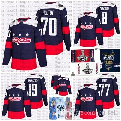 on sale a6e57 37c89 2018 Stanley Cup Final Champion Stadium Series Patch Hockey Jerseys  Washington Capitals Alex Ovechkin Braden Holtby T.J. Oshie Jersey Navy
