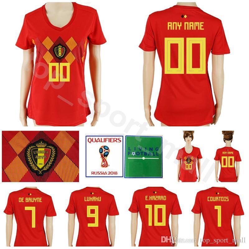 7af197fe5 Women Belgium Jersey 2018 World Cup Soccer 10 HAZARD 7 DE BRUYNE 9 ...