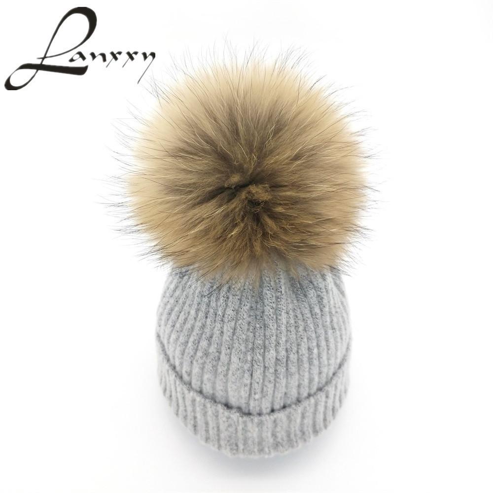 ca8547e9f7e Lanxxy 2016 New Women Winter Hats Real Mink Fur Pom Poms Hat Girls ...