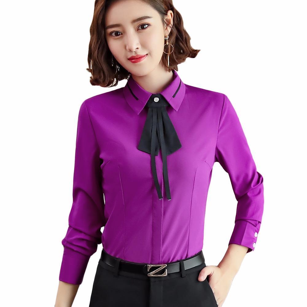 2bd65b529da4 Compre Las Mujeres 2018 Elegante Blusa Blanca Camisas Femeninas Ropa De  Trabajo De Las Señoras Blusa De Cuello De Manga Larga Turn Down A  27.66  Del ...