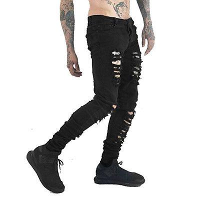 f769903834 Compre Nuevos Hombres Pantalones Vaqueros Ajustados Flacos Negros Apestosos  Pantalones Rotos Destruidos Agujeros A  24.44 Del Dalivid