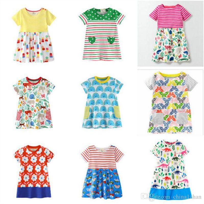 af126a9c2f758 Satın Al Pamuk Kız Elbise Karikatür Baskılı Çocuklar Etekler Kısa Kollu  Bebek Elbiseleri Yaz Çocuklar Giyim Için 1 T 6 T 12 Tasarımlar DHT312, ...