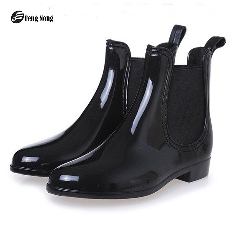 b2b18f9d4b5 Feng Nong Spring Winter Boots Brand Design Ankle Boots Rain Boots Elastic  Band Shoes Woman Solid Rubber Waterproof Flats Cd609 Wellies Boots For Women  From ...