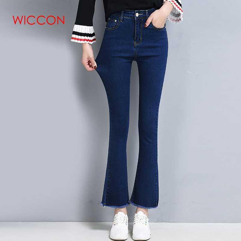 a381502783ae3 Acheter Bell Bottom Jeans Pour Femmes Taille Haute Jeans Slim Femmes Pantalons  Haute Élastique Skinny Stretch Flare Pants Jeans Pantalons De $21.7 Du Ppkk  ...