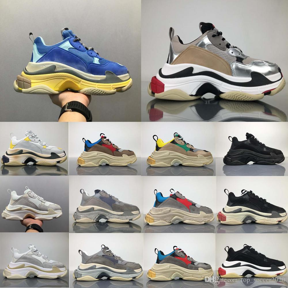 9d8e01f9b4d2 Hot Sale 2018 Top Quality New Triple S Sneakers Men Women Running Shoes  Sports Shoes Size 36 45 Waterproof Running Shoes On Running Shoes From ...
