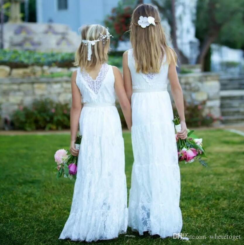 30163be774 2018 Boho Lace Flower Girls Dresses Country Style V Neck Sash Weddings  Juniors Bridesmaids Dress Cheap Long Kids Birthday Dress Beach Wear Girls  Boutique ...