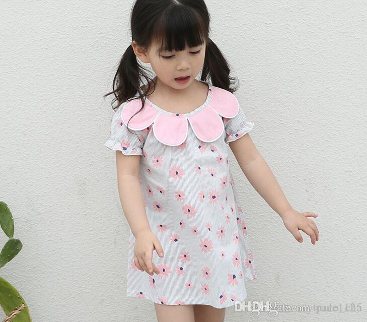539ddcd7795e 2019 New Summer Girls Dress Sunflower Collar Cute Flower Print Dress Girl S  100% Cotton Short Sleeve Elegant Dress Kids Clothing From Paco cha