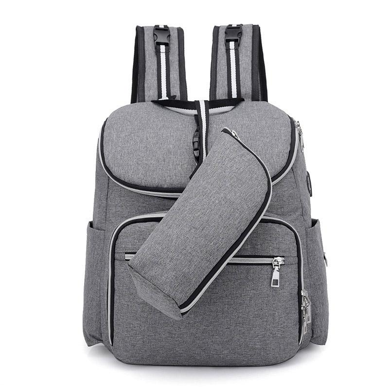 USB Interface Mummy Bag Multi-function Shoulder Mom Bags Large Capacity Nappy Backpack Two-piece Mobile Baby Diaper Bags MBG0018