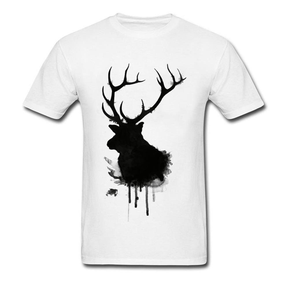 383eb2a9b Ink Elk T Shirt Men Art Design T Shirt Black White Fashion Clothing Animals  Silhouette Tops Cotton Tees Hip Hop Streetwear Awesome T Shirts Designs  Cool ...