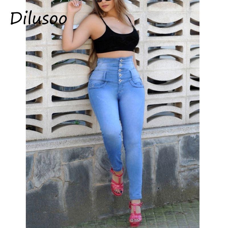 aa841225a Compre Dilusoo Pantalones Vaqueros De Cintura Alta Para Mujer Pantalones De  5 Botones Con Lápiz Elástico 4 Temporada Pantalones Vaqueros De Mezclilla  ...