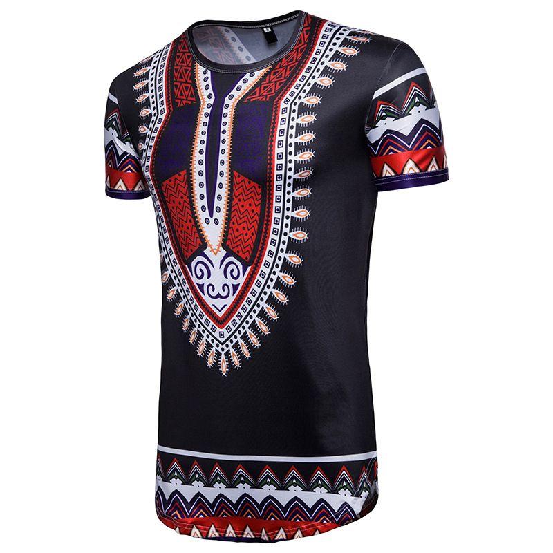 Erkek Mürekkep Paisley Kısa kollu Tişört Moda Düzensiz Afrika Etnik Tarzı Büyük Boy t shirt Toptan Kişilik Geometrik Tees Tops