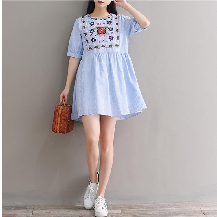 73ffcd378b7e Indie Folk Style 2018 Summer Floral Embroidery Loose Dress Vestidos Women  Vintage Casual Dress Women Cotton Stripe Mini Dress Plus Size Dresses  Formal ...