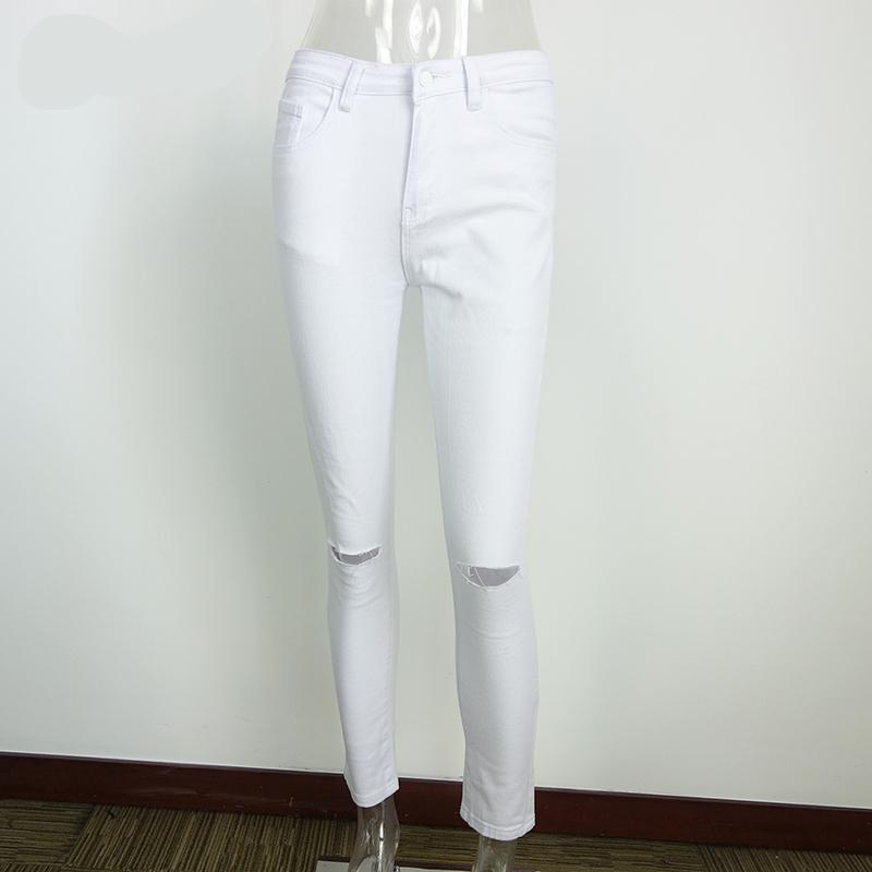 13d5f5425ce6f4 2019 Summer Style White Hole Ripped Jeans Women Jeggings Cool Denim High  Waist Pants Capris Female Skinny Black Casual Jeans From Clothingcart, ...