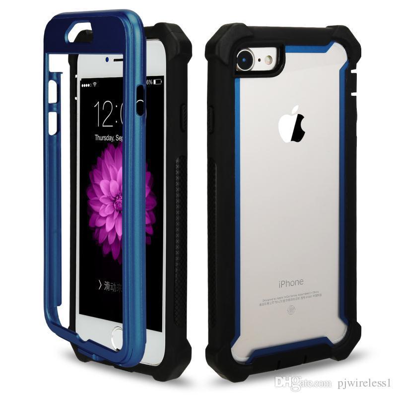 Iphone 6G için 7G Zırh vaka 3 in 1 TPU + PC Şeffaf şeffaf Hibrid Darbeye Arka Kapak iphone 8 Telefon kılıfı B