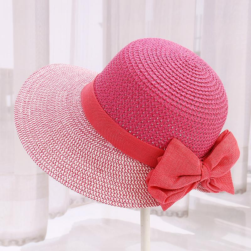 2c7c67777f3 New 2018 New Fashion Straw Patch Summer Hat Women Beach Sun Hats Bow ...