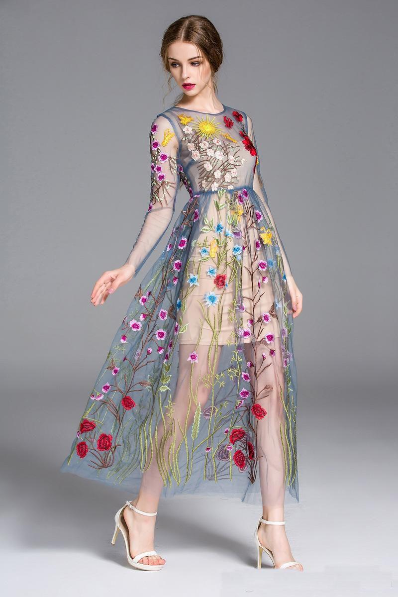 3aa59931c57 Nouvelle pleine broderie wrap coloré fleur soleil manches longues gaze  piste robe formelle maille maxi boutique robe grand spectacle passerelle  pleine robe