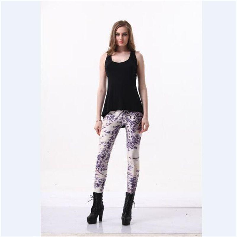 Wholesale Hot Sell Women Skull Flower Map 3d Digital Print Trousers Stretch Pants Skinny Leggings Tight