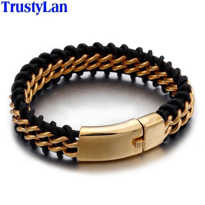 af052af18103 TrustyLan Pulsera de cuero de acero inoxidable en color dorado para hombre  de 18 mm de ancho Pulseras de cuero para hombre en joyería de pulsera ...