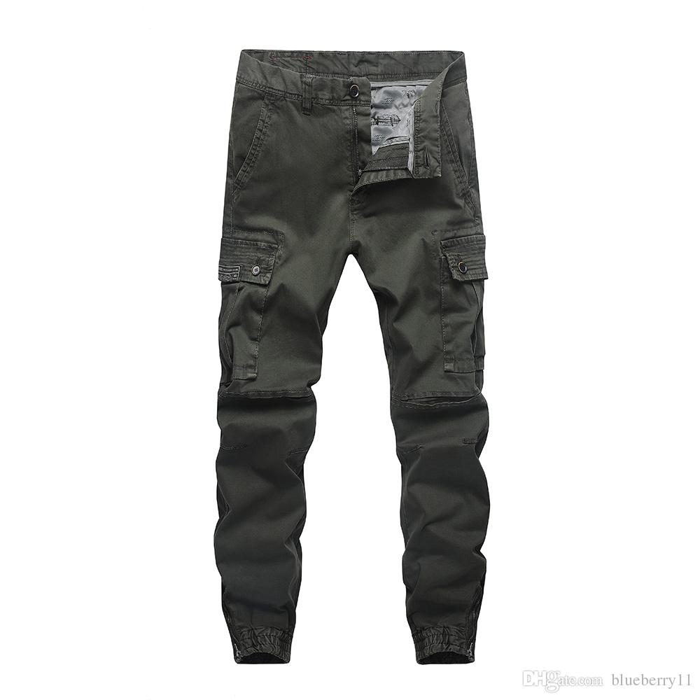 a81002971f7 2019 2018 New Fashion Pants Men Trousers Jogger Zipper Green Blue Cargo  Pants Joggers Plus Size 30 40 From Blueberry11