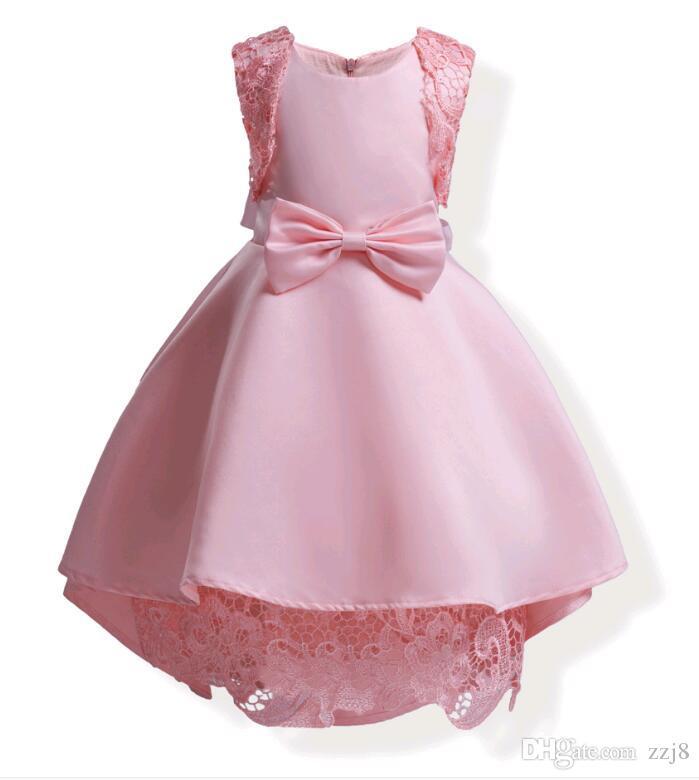 Europe Asymmetrical Hemline Kids Dress for Party Blue Pink Children Lace Splicing Shoulder Bottom Big Bow Dresses fit 3-10 Child