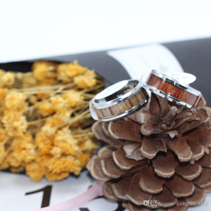 Anneaux de bois pour hommes en acier inoxydable de haute qualité Men s en acier titane anneau en acier pour les femmes bijoux de mode en vrac