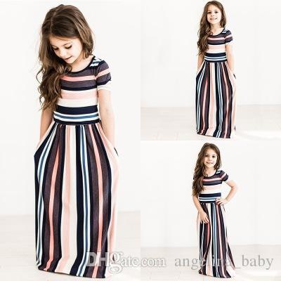 61d419cd70d 2019 Girls Colorful Striped Dress Printed O Neck Short Sleeve Long Dress  Ankle Length Longuette Skirt Breathable Summer 1 7T Z11 From Angelina baby
