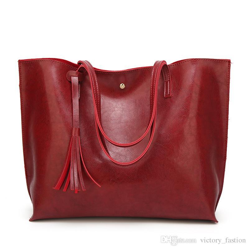 bb01eaf45009 Luxury Soft Leather Women Shoulder Bag Fashion Brand Tassel Women s Leather  Handbags High Quality Designer big Women Bag
