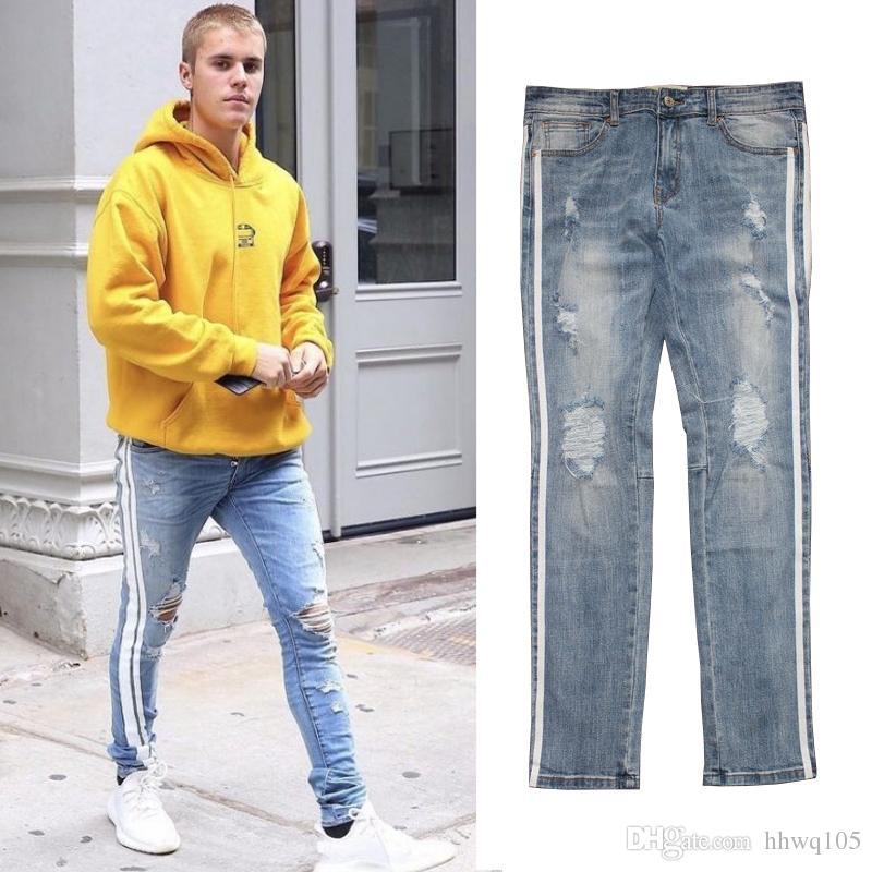 cb24a0bd62eb69 2019 Justin Bieber Side Stripes Jeans High Quality Men Slim Fit Ripped  Denim Jeans Hip Hop Streetwear Cotton Jean Pants Trousers YCH0505 From  Hhwq105, ...