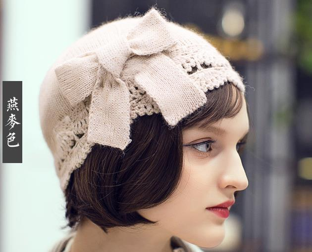 7dede402b Sell Hand Knitting Beanies With Bow Tie Ladies Wool Hats Autumn Winter Wool  Berets Excellent Design 53-57CM Free Shipping