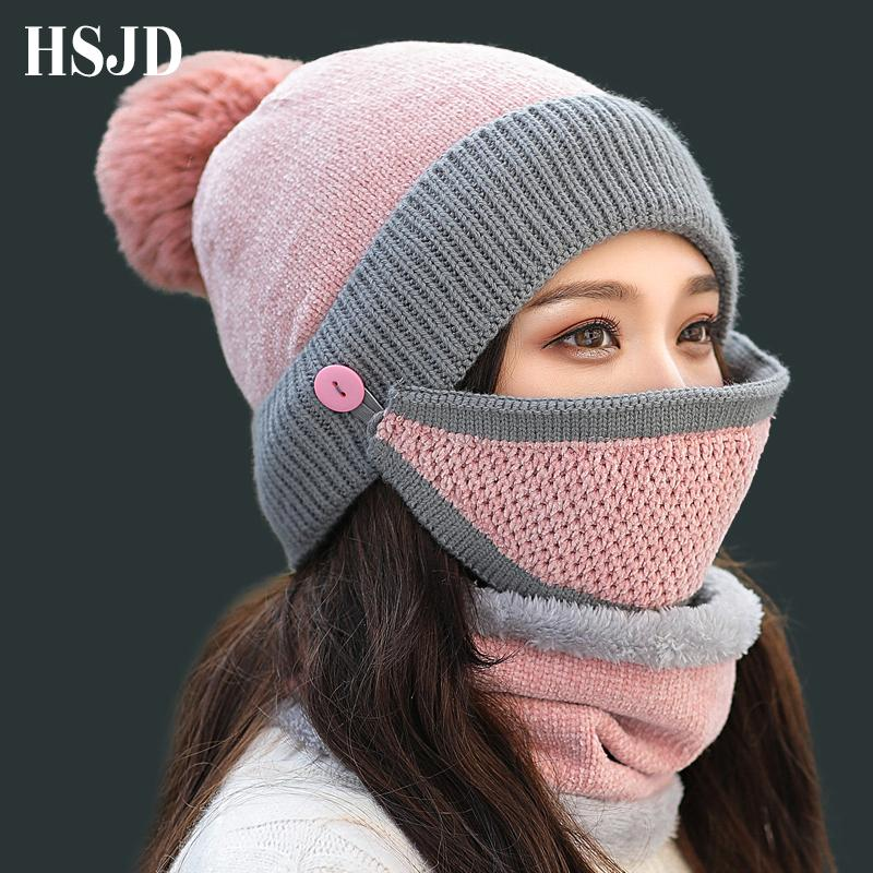 ffcc1403828 New Winter Women Chenille Knitted Hat Scarf And Mask Set Female Thick  Skullies Beanies Warm Balaclava Ski Caps For Girl Knit Hat Hats And Caps  From Naughtie ...