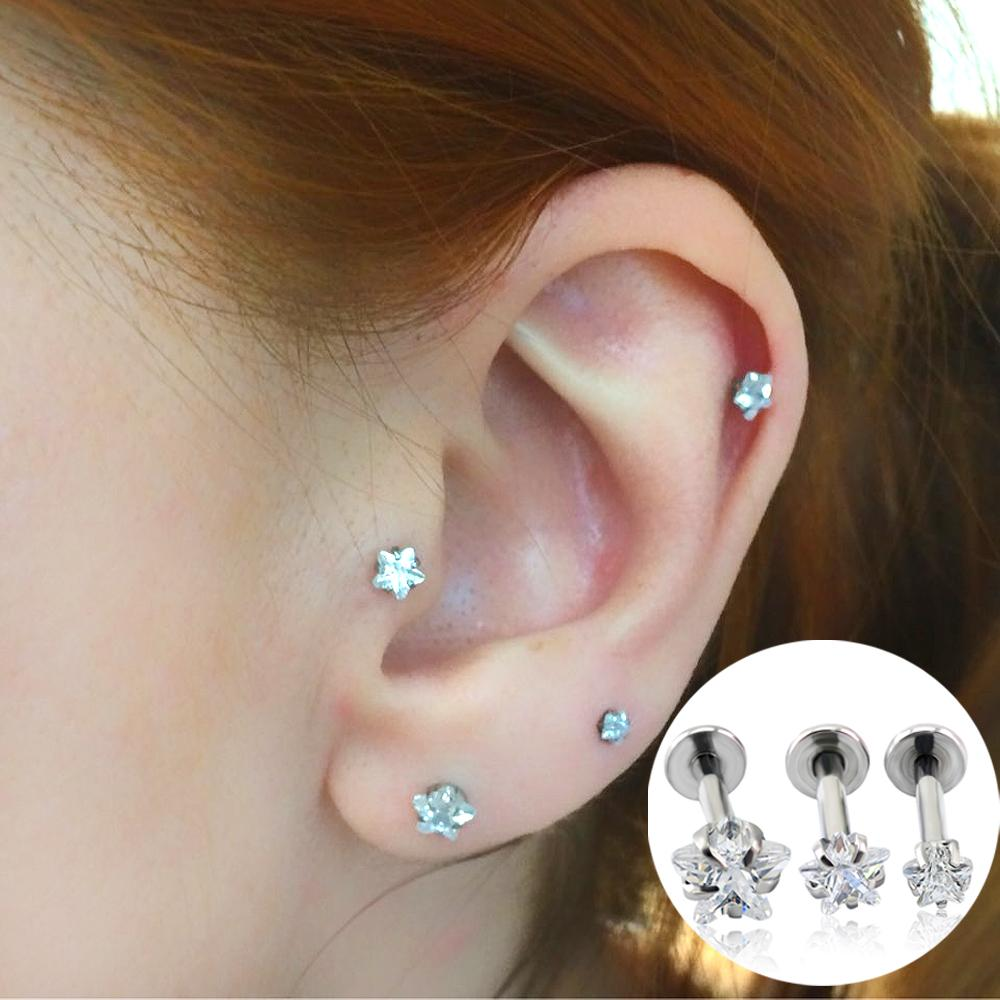 2019 Fashion Jewelry Ear Stud Star Zircon Prong Set Top Internally