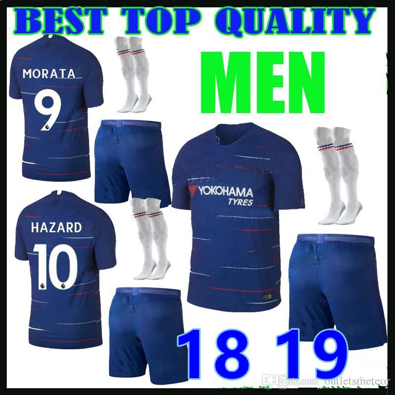 14c78541 Adult Kit 2018 2019 Hazard Soccer Jersey Giroud 18 19 Premier League ...