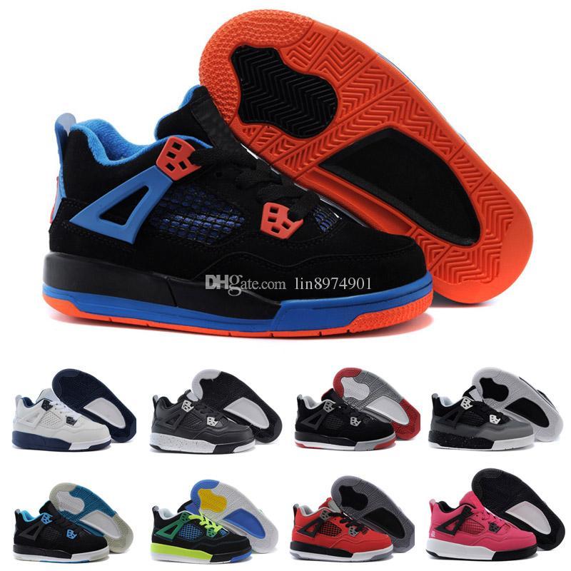 wholesale dealer 119ad 25dac Acheter Nike Air Jordan 4 13 Retro New Kids Basketball Chaussures 4 Garçons  Bébé Sneakers Rouge Noir Blanc Bleu Enfants Sports IV 4s Formateurs 2017 En  Gros ...