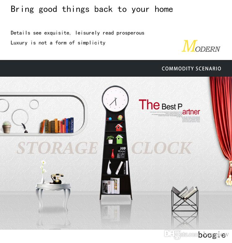 2018 Special European Style Creative Floor Clock Living Room Solid Wood  Bookshelf Furniture Cabinet Multi Functional Clock Black Atmospheric Stan  From ...