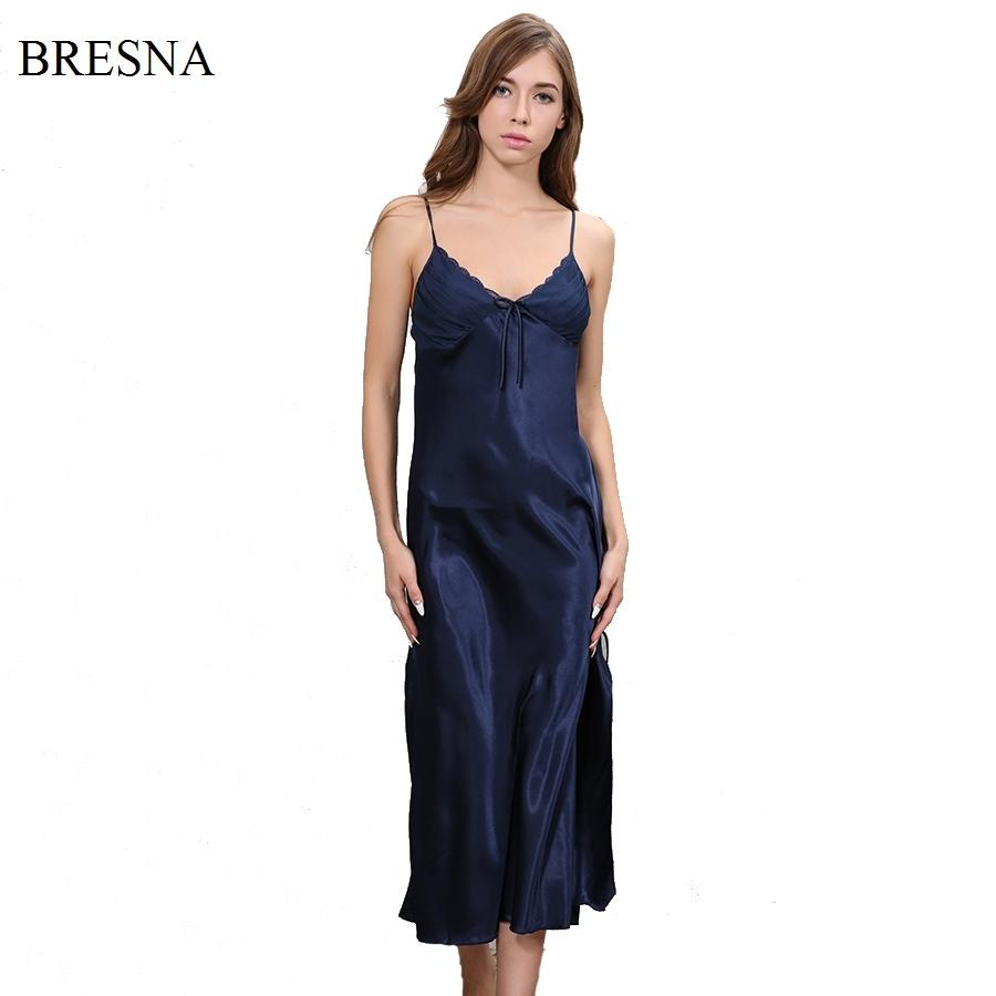 BRESNA New 2017 Long Satin Nightgown Women Night Dress Sleepwear Ankle  Length Spaghetti Strap Sexy Negligees Lace Solid Color S923 Ladies Cotton  Pajamas ... 644e3e47c
