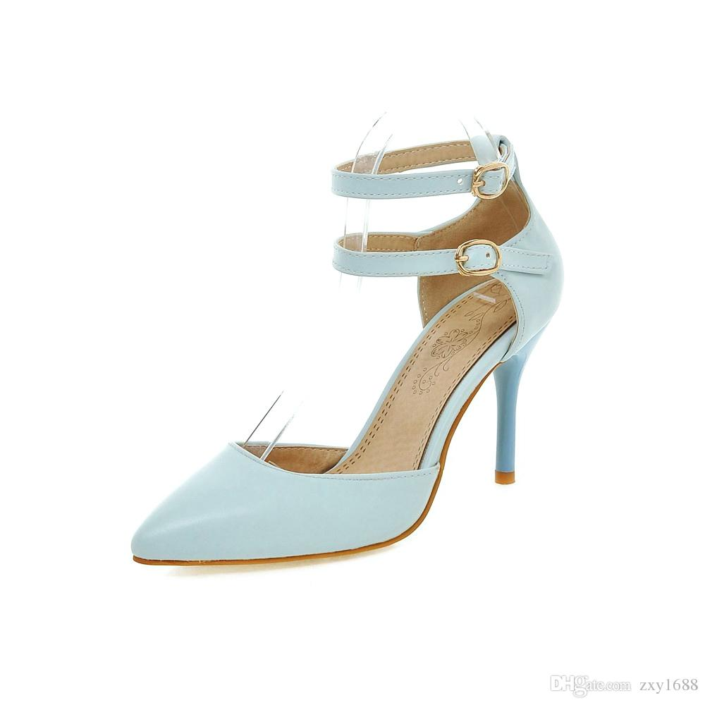 63380389b224 Factory Price Direct Selling High Heel Pointed Buckle Pure Color Wedding  Banquet Postwoman ShoesHLE6018-3 High Heels Wedding Shoes Shopping Online  with ...