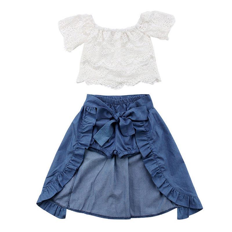 e4da2e08b Compre 2018 Ropa Para Niños Conjunto Vestido Para Niñas Ropa Para Bebés Ropa  Para Bebés Ropa Blanca De Encaje + Pantalones Cortos De Mezclilla + Falda  Con ...