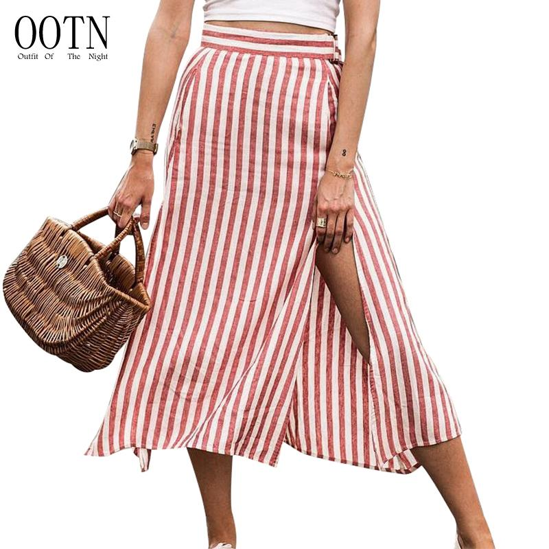 54740a60d2 2019 OOTN Red White Striped High Waist Skirts Women Split Sexy Long Skirts  Female Office Midi Skirt Zipper Ladies Casual Fashion 2018 From  Blueberry15, ...