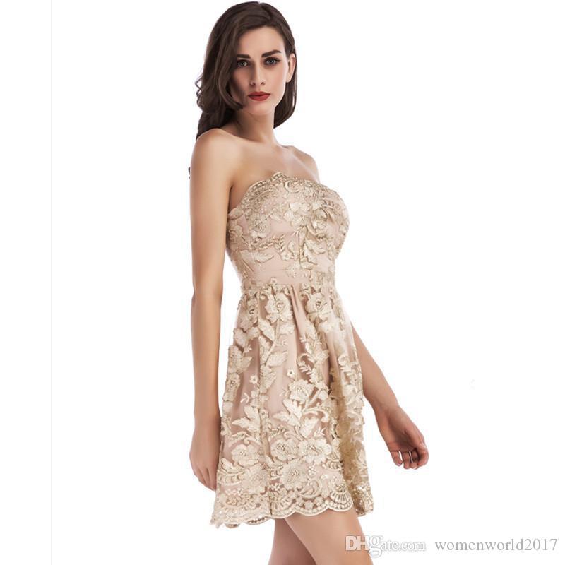 Elegant Strapless Short Prom Dress Gold Embroidery Floral A-Line Party Evening Dresses Girls Graduation Princess Dresses