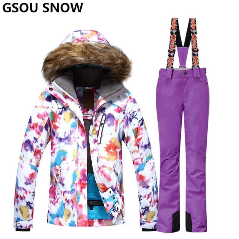 63e96ebb54ac6 Compre Gsou Snow Mujer Trajes De Esquí Chaquetas Y Pantalones De Snowboard  De Invierno Impermeable A Prueba De Viento Colorido Deportes Al Aire Libre  Para ...