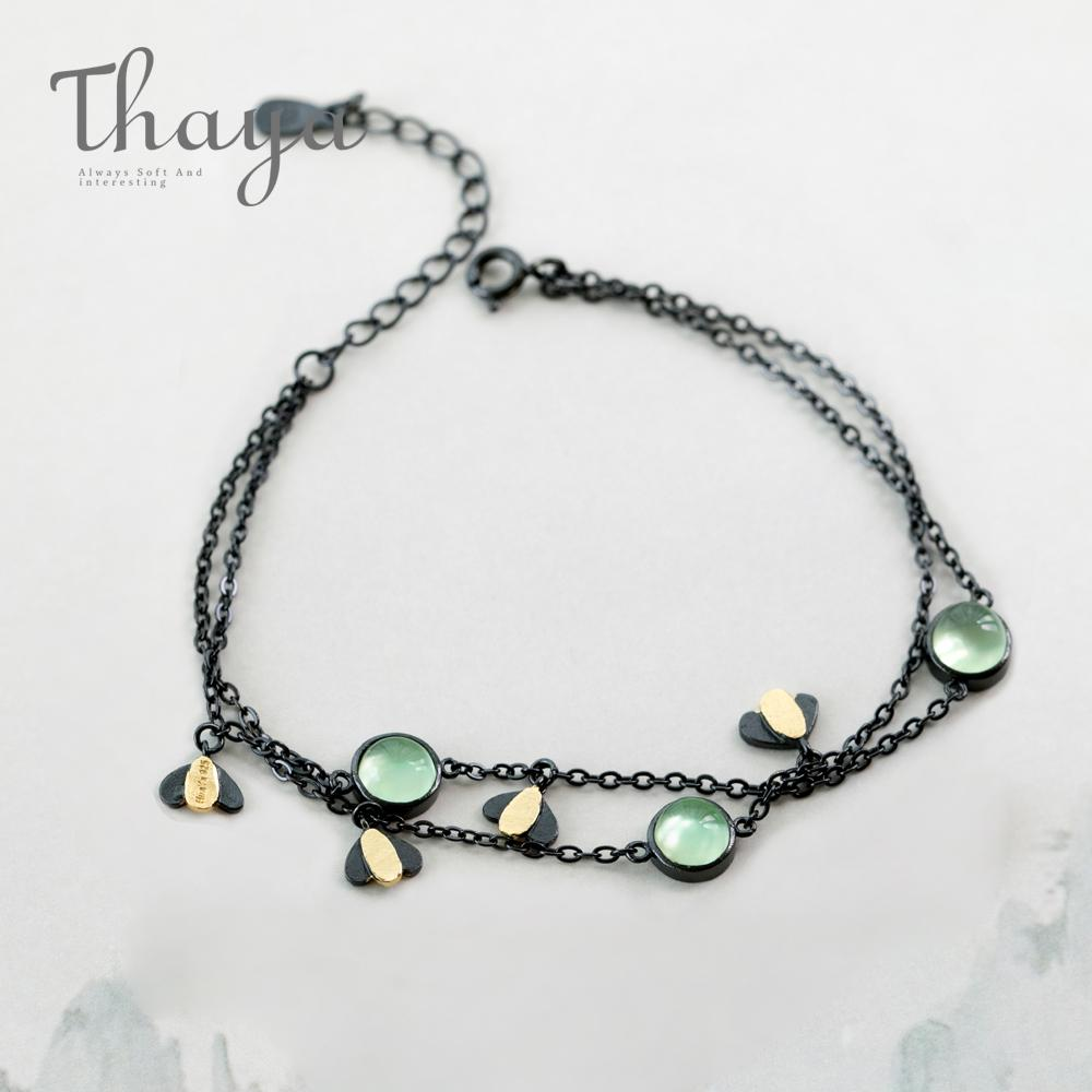 Thaya Firefly Bracelet s925 Silver Green Crystal Gemstone Black Chain Summer Night Jewelry for Women Guardian Spirit Gift