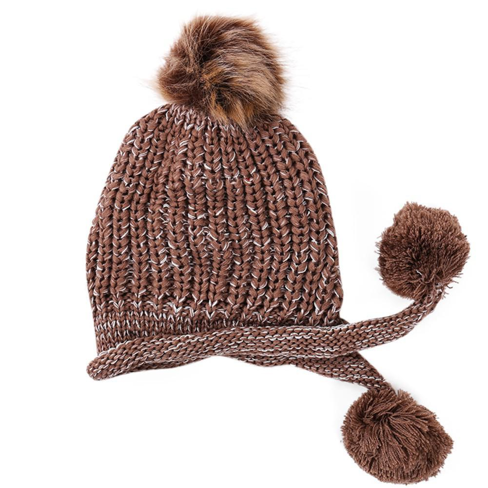 Acheter MISSKY Femmes Bonnets Hiver Chaud Bonnet Tricoté Bonnet Polaire  Cache Manche Avec Boules En Peluche Mignonnes De  45.22 Du Pjtucker    DHgate.Com db71ed70a43