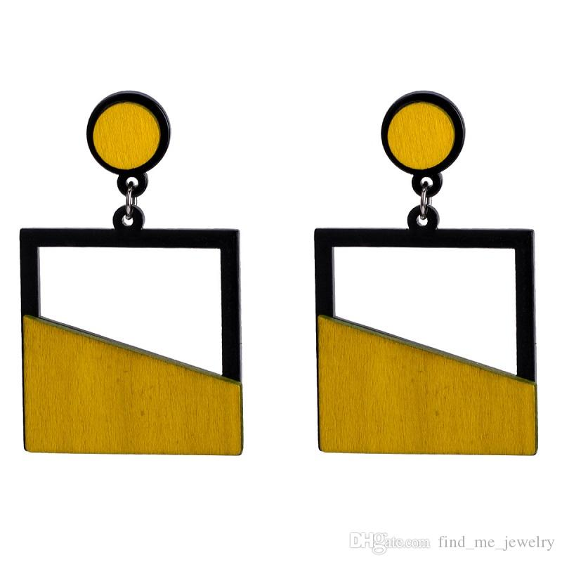 Wooden Yellow Drop Earring Female Fashion Party Gift Cute Vintage Ethnic Punk Bohemian Maxi Geometry Red Dangle Earrings for Women Jewelry