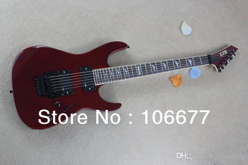 Envío gratis Flame Maple Top LTD M-300FM Custom Shop Imported Accesorios Floyd Rose EMG Pickups Red Guitarra eléctrica